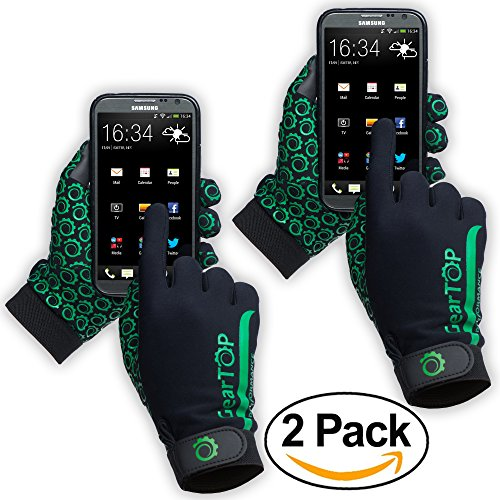 Price comparison product image Touch Screen Gloves - Great for Running Rugby Football Walking (Green, 2 Pack - Extra Large)