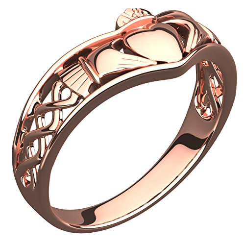 GWG Claddagh Ring for Women 18K Rose Gold Plated Half Covered Band and Celtic Knot Design - 9 (Ring Knot Claddagh Gold)