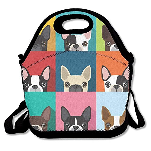 - Insulated Neoprene Lunch Bag - Removable Shoulder Strap-Reusable Thermal Thick Lunch Tote/Lunch Box/Cooler Bag For Women,Teens,Girls,Kids,Baby, Cartoon Boston Terriers Bulldog