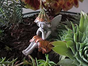 Sitting Miniature Garden Fairy Kelly Fall Color Orange Elfish Sprite Faerie Green Outfit