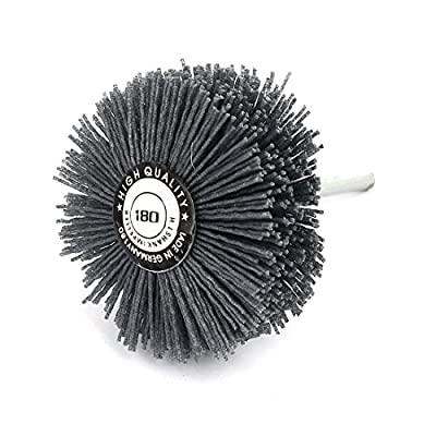 uxcell 6mm Shank 80mm Dia Head 180 Grit Abrasive Wheel Brush Grinding Tool Gray