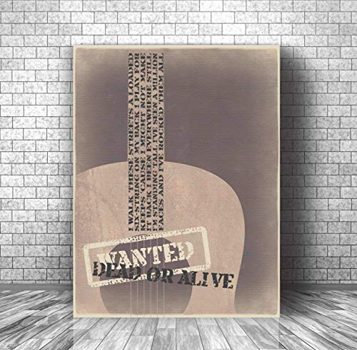 Bon Jovi Song - Wanted Dead or Alive - Music Quote Print Inspired Wall Decor - Canvas or Plaque Artwork Gift (Lyrics Bon Jovi Christmas)