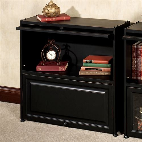 - Touch of Class Auston Barrister Bookcase with Wooden Doors Black Wood
