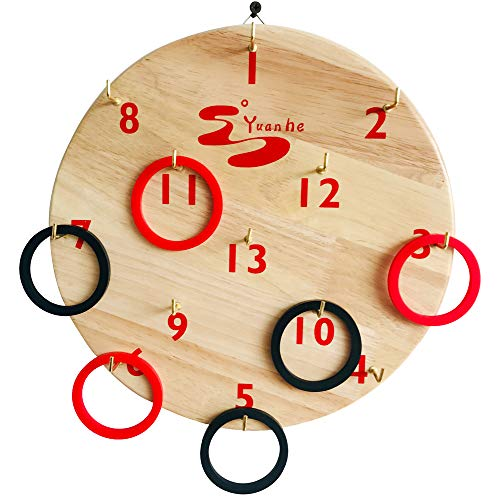 YH Poker Deluxe Hookey Ring Toss Game for Kids & Adults, Indoor Or Outdoor Hook Board Ring Toss,Just Hang it on a Wall and Start Playing.Includes 6 Rings ()