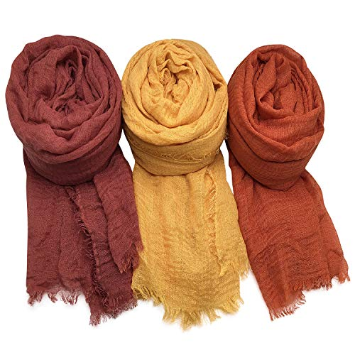 (Axe Sickle 3PCS Scarf Wrap Shawl Cotton Hemp Soft Outdoor Beach for All Seasons Wrap, Women Wrap Shawls Sunscreen Stylish Scarf Lightweight Warm Big Head Scarves Mixed color series C.)