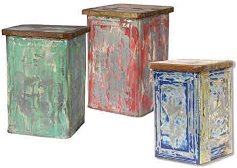 Ethnic Chic panchetto Caja Vintage, Metal y Tapa de Madera reciclada (Colores Surtidos). Tamaños 25 x 25 cm H 38. Venta Muebles Vintage Venta Online scontati.: Amazon.es: Hogar