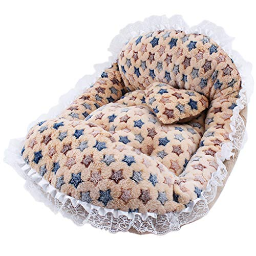 Yaloee Fine Joy Soft Cotton Pet Princess Bed Sofa Dot Star Printing Lace Beds Little Pet Animal Dog Cat Sleeping Warm Bed Mat