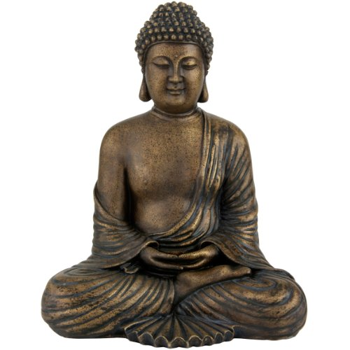 "Oriental Furniture 12"" Japanese Meditating Buddha Statue"