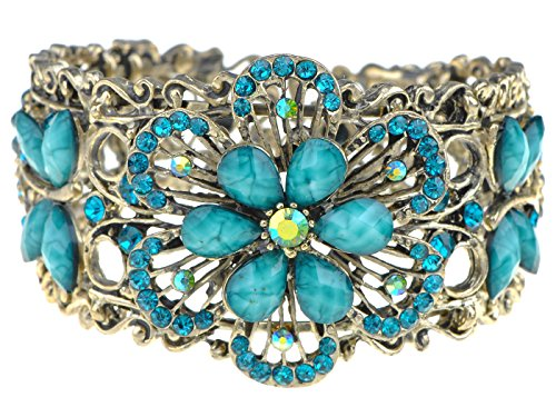 Alilang Vintage Inspired Flower Dragonfly Blue Bangle Cuff ()