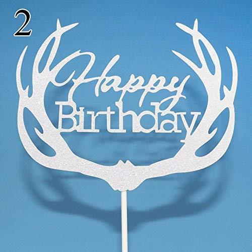 1 piece Antler Happy Birthday Cake Topper Birthday Cake Decoration Friends Birthday Party Gift Kids Cake Topper Birthday Party Supplies