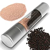 Salt Mill & Pepper Grinder Set 2-in-1 Sleek Stainless Steel...