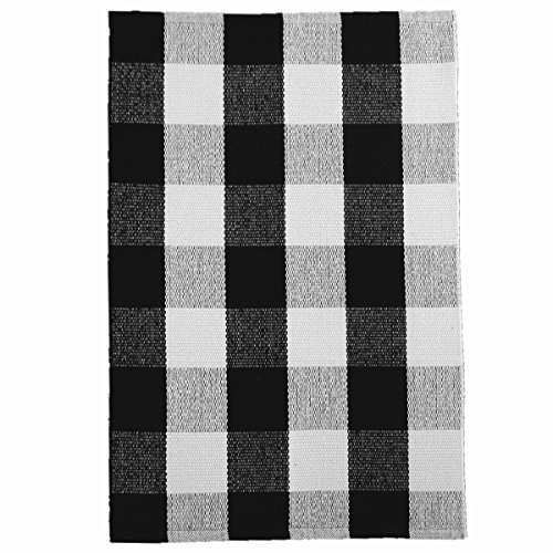Ukeler Retro Farmhouse Tartan Checkered Plaid Rugs Door Mat - 100% Cotton - Black/White Hand-woven Floor Rugs Washable Rag Throw Rugs for Kitchen/Bathroom/Entry Way/Laundry Room, 23.6''x35.4'' (Black White And Retro)
