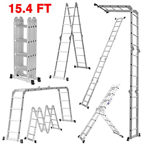 Finether 15.4ft Heavy Duty Multi Purpose Aluminum Folding Extension Ladder with Safety Locking Hinges 330lb Capacity (New Non-slip Mat and Wheels for Free) by Finether