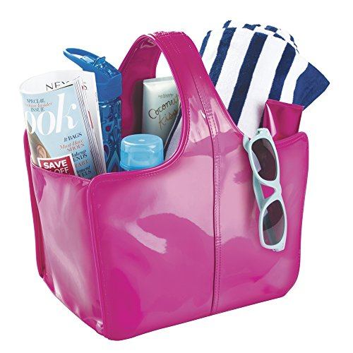 mDesign Vegan Patent Leather Tote for Bathroom Shower, College Dorm, Beach - Medium, Fuchsia/Pink