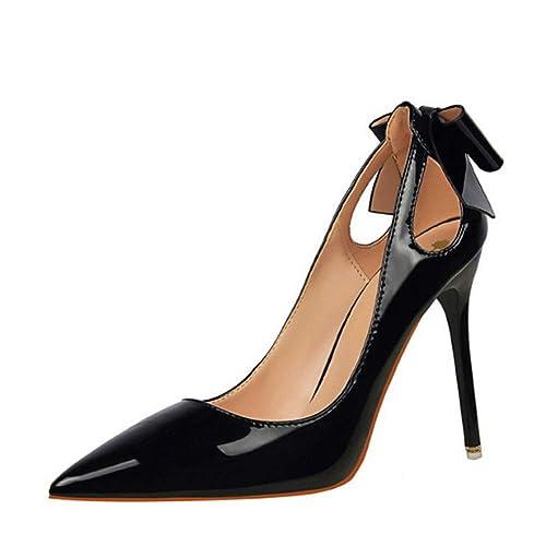 f93e19fd Mujer Pajarita Punta Estrecha Zapatos de tacón Alto Zapatos de Cuero Bombas  para Mujeres Recortes Zapatos de Fiesta: Amazon.es: Zapatos y complementos