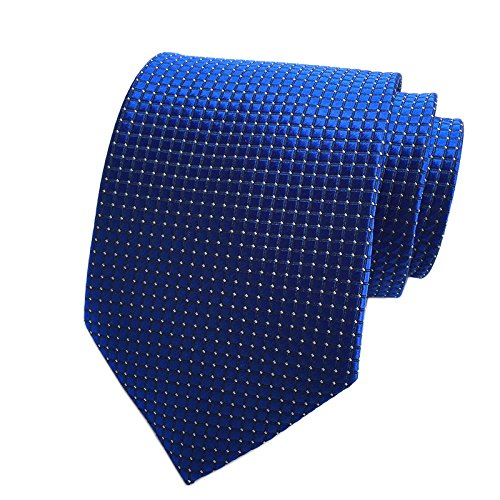 Pisces Goods New Royal Blue Checked Jacquard Woven Mens Tie Necktie