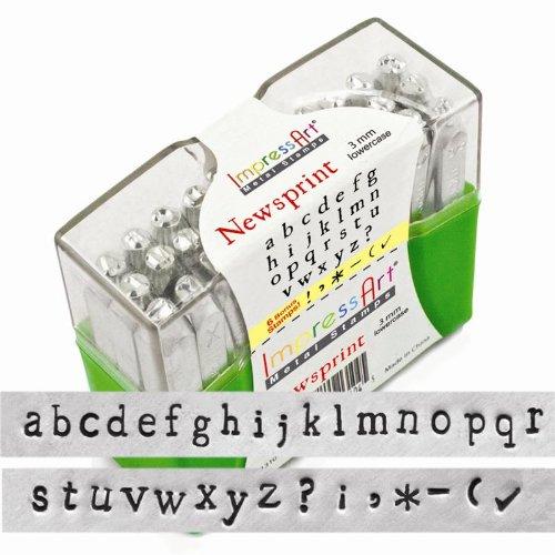 ImpressArt 27-Piece Lowercase Stamp Set, Newsprint, 3mm