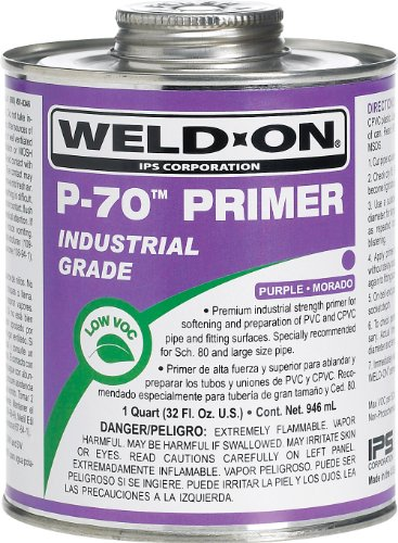 Pvc Primer (Weld-On 10223 P-70 Purple PVC/CPVC Primer, Low-VOC, 1 quart Can with Applicator Cap, Metal Can)
