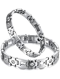 New Fashion Footprint Inlay Health Care Magnetic Stone&cz Stone Anti-radiation&fatigue Titanium Stainless Steel Couple's/women's/men's Bracelets Bangles Best Gift!