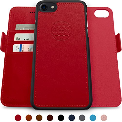 Dreem Fibonacci 2-in-1 Wallet-Case for iPhone 8 & 7, Magnetic Detachable Shock-Proof TPU Slim-Case, Wireless Charge, RFID Protection, 2-Way Stand, Luxury Vegan Leather, Gift-Box - Red ()