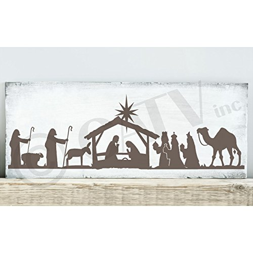 Scene Meaning Nativity - Nativity Scene Vinyl Lettering Wall Decal Sticker (Metallic Bronze, 6