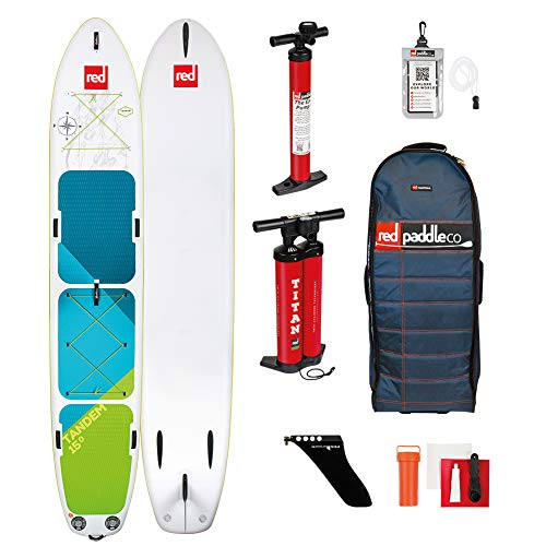 Red Paddle Co 15' x 34' Voyageur Tandem MSL Inflatable Stand Up Paddleboard White/Blue/Green