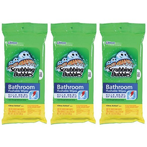 Scrubbing Bubbles Flushable Wipe - Scrubbing Bubbles Antibacterial Bathroom Flushable Wipes, 28 Count - Pack of 3