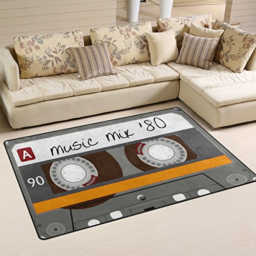 WOZO Vintage Cassette Tape Music Area Rug Rugs Non-Slip Floor Mat Doormats for Living Room Bedroom 60 x 39 inches