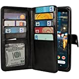 NEXTKIN Google Pixel 2 XL 2017 Case, Leather Dual Wallet Folio TPU Cover, 2 Large Pockets Double flap Privacy, Multi Card Slots Snap Button Strap For Google Pixel 2 XL 6 inch 2017 - Black