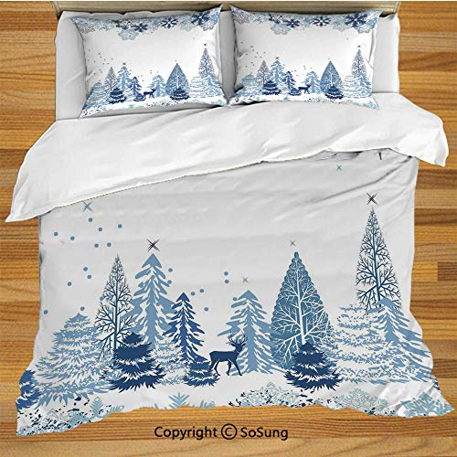 Winter Queen Size Bedding Duvet Cover Set,Winter Scene with Deer Frozen Trees and Snow Christmas Season Pine Trees Bushes Decorative Decorative 3 Piece Bedding Set with 2 Pillow Shams,Blue White ()