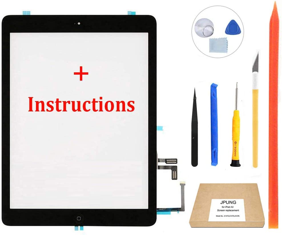 JPUNG Touch Screen Replacement for iPad Air 1st Generation Digitizer,Only for A1474 A1475 A1476, with Home Button, Full Repair Kit, Camera Holder, Pre-Installed Adhesive
