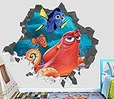 Finding Nemo Dory Hank Adventure Wall Decal Smashed 3D Sticker Vinyl Decor Mural Movie Kids - Broken Wall - 3D Designs - OP435 (Giant (Wide 50'' x 46'' Height))