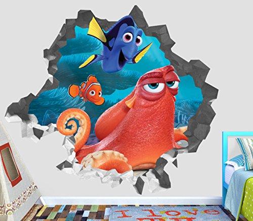 Finding Nemo Wall Murals - Finding Nemo Dory Hank Adventure Wall Decal Smashed 3D Sticker Vinyl Decor Mural Movie Kids - Broken Wall - 3D Designs - OP435 (Small (Wide 22