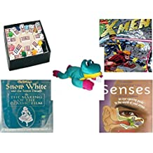 """Children's Gift Bundle - Ages 6-12 [5 Piece] - Mexican Train Double Twelve Dominoes Set - X-Men Special Collector's Edition October 1991#1 Magazine - Good Stuff Plush Frog 14"""" - Snow White and the"""