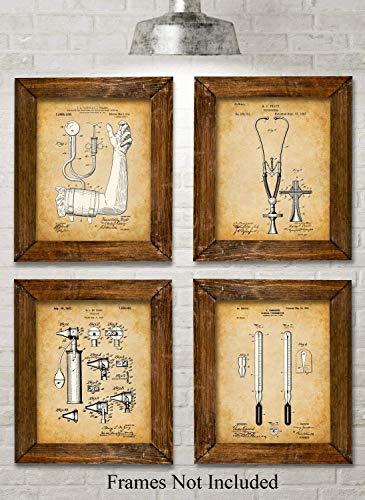 Original Medical Patent Art Prints - Set of Four Photos (8x10) Unframed - Makes a Great Gift Under $25 for Doctors, Nurses, Nursing and Medical Students