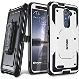 zte zmax swivel clip - COVRWARE [Aegis Series] case Compatible with ZTE ZMAX PRO/ZTE Carry, with Built-in [Screen Protector] Heavy Duty Full-Body Rugged Holster Armor Case [Belt Swivel Clip][Kickstand], White