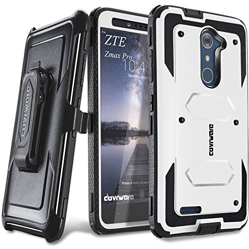 COVRWARE [Aegis Series] case Compatible with ZTE ZMAX PRO/ZTE Carry, with Built-in [Screen Protector] Heavy Duty Full-Body Rugged Holster Armor Case [Belt Swivel Clip][Kickstand], White (Family Mobile Zte Zmax Cases)