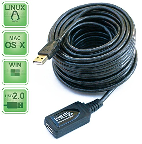 Plugable 10 Meter (32 Foot) USB 2.0 Active Extension Cable Type A Male to A Female (Long Usb Cables)