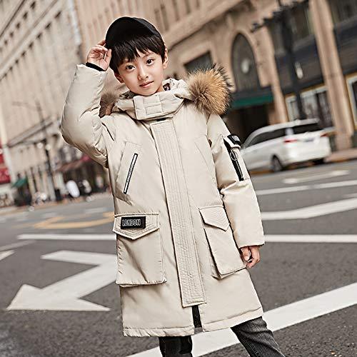 FDSAD Warme Jacke Im Freien Neue Kinder Outdoor Warme Jacke Junge Langer Abschnitt Dicke Lässige Jugendjacke Geeignet Für Höhe 140Cm Beige