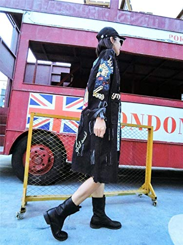 Schwarz Casuales Larga Mujer Elegantes Lentejuelas Solapa Outerwear Vaqueras Largos Anchas Fashion De Jacket Modernas Jeans Vintage Manga Primavera Cazadoras De Abrigo Denim Huixin Agujeros Otoño Rasgado HwZ4w