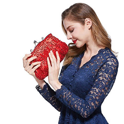 Bead Ideas Floral Seed Exquisite VENI Colors Gift Soft Bead Clutch Sequined Various Sequin Collection Antique Red Clutch Evening MASEE Seed Bag Handbag Leaf Evening OqOwPptR