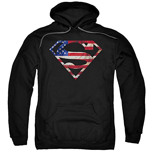 Superman Hoodie For Adults (Superman Super Patriot DC Comics Justice League Adult Mens Pull-Over Hoodie Black (Medium))