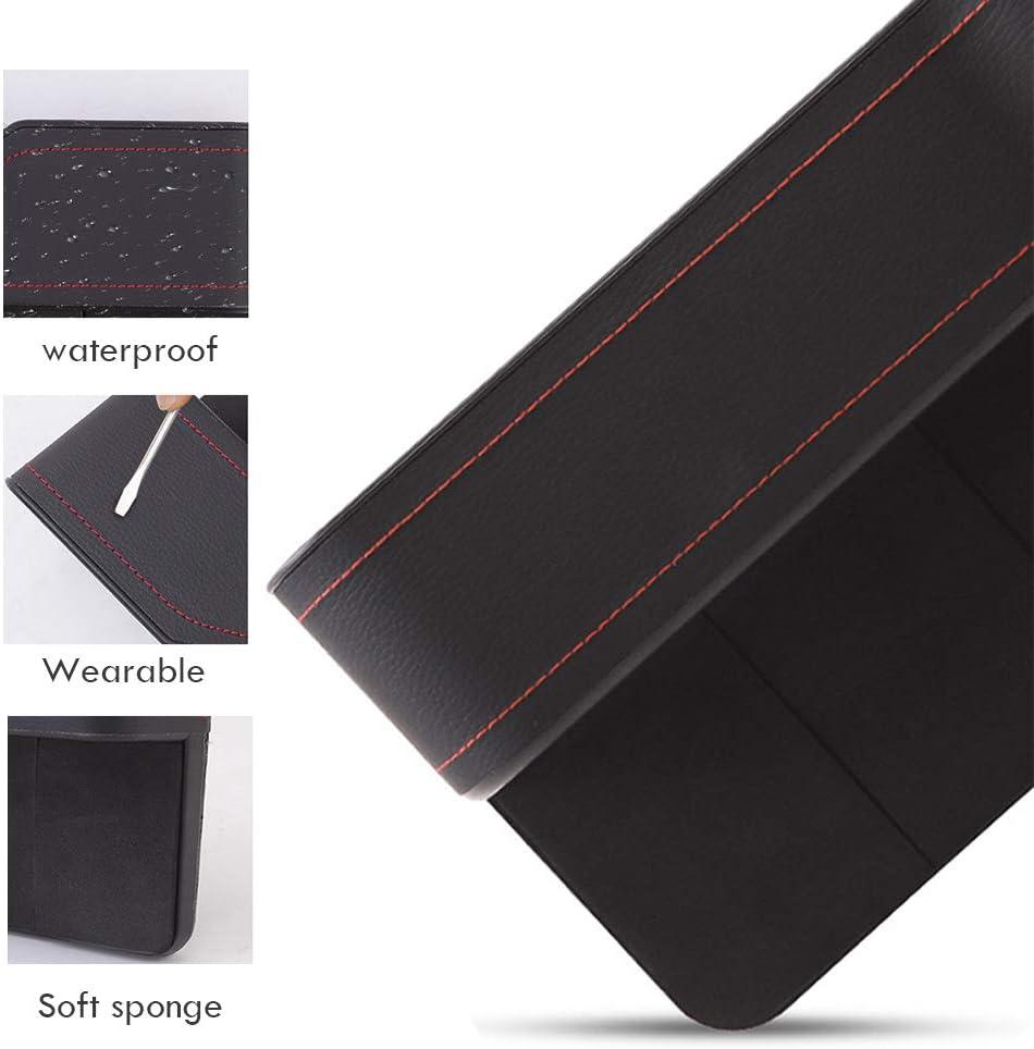 Seitentasche Geldb/örse verschiedene Karten f/ür Handy 2 St/ück Reserve-USB-Ladeanschluss Schwarzer Premium-Leder-L/ückenf/üller f/ür Autositz mit Tasse