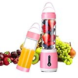 USB Electric Portable Juicer Cup with Updated 6 Blades in 3D, Rechargable 480ml High Capacity Blender,Fruit,Ice, Vegetables,Mixing Machine(Pink)