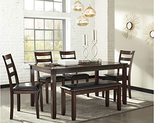 Ashley Furniture Signature Design - Coviar Dining Room Table and Chairs with Bench (Set of 6) - Brown