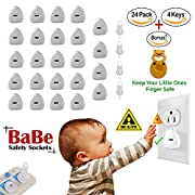 BaBeSafetySockets Electric Outlet Covers - Baby Proofing Child Safety Protection Proof Guard Wall Outlet Cover Plugs ( 24 Plugs + 4 Keys + 2pc Door Stopper) Babies Socket Safety Plug Protectors