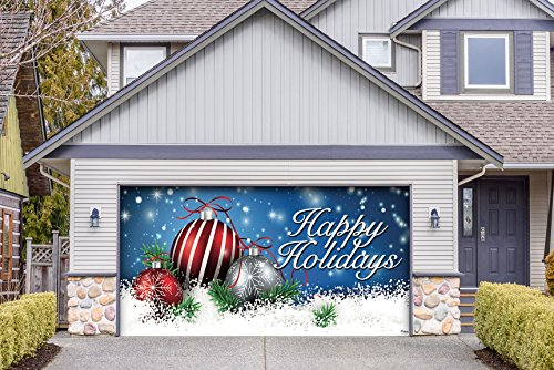 Outdoor Christmas Holiday Garage Door Banner Cover Mural Décoration 8'x16' - Christmas Red and White Ornaments on Red Holiday Garage Door Banner Décor Sign 8'x16'