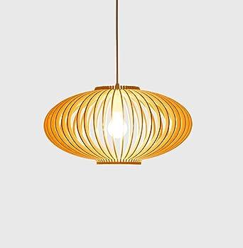 Lámpara de madera creativa Jaula Lámpara colgante Lámpara ovalada ...