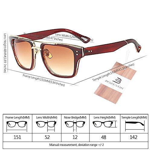 y Mujers UV400 Extragrandes para sol Gafas 01 Hombre BOZEVON Estilo Retro Unisex de Verano Gafas de qwRSzp8pf