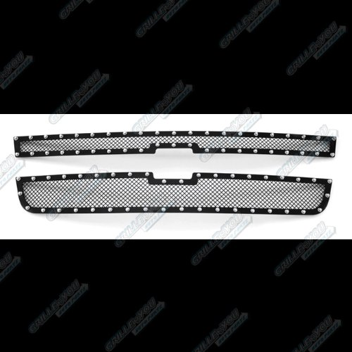 APS Compatible with 2006 Chevy Silverado 1500 2005-2006 2500 3500 Rivet Stud Stainless Steel Mesh Grille Grill CL5306H